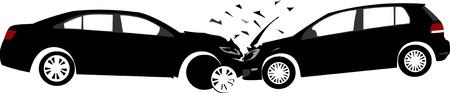 Auto-ongeluk concept. Gelaagde vector illustratie.