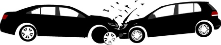 auto accident: Car crash concept. Layered vector illustration.