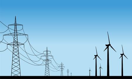 Las plantas de viento y líneas de transmisión Ilustración de vector