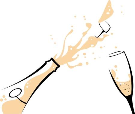 corcho: Champagne Ilustración del concepto de vector en capas