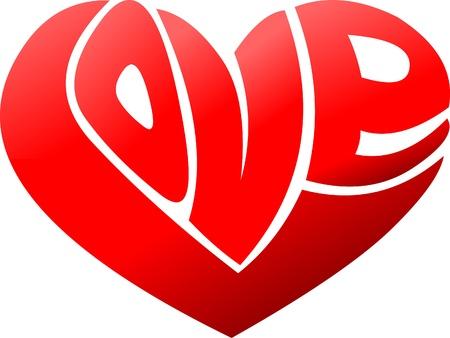 true: Word love in shape of a heart  Illustration