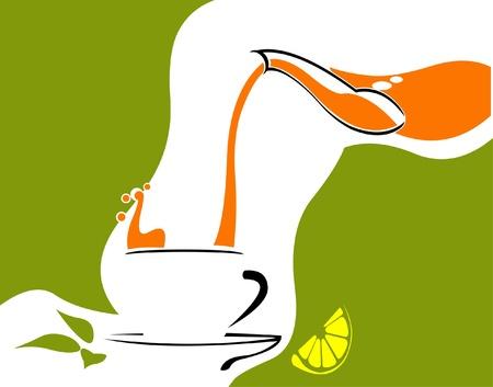 yellow tea pot: Pouring tea concept. Easy editable layered vector illustration