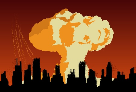 nuke: Concept of nuclear explosion cloud over destroyed city silhouette Illustration
