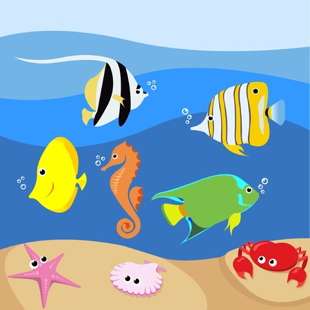 Set of marine life with various tropical fishes  Vector