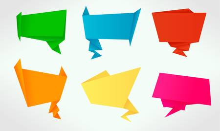 Set of origami banners and speech bubbles Stock Vector - 13158699