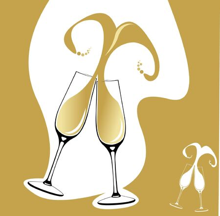 Two champagne glasses with abstract splash in shape of heart. Layered illustration. Vector