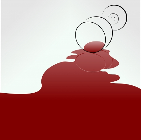 Spilled wine. Easy editable layered illustration Vector
