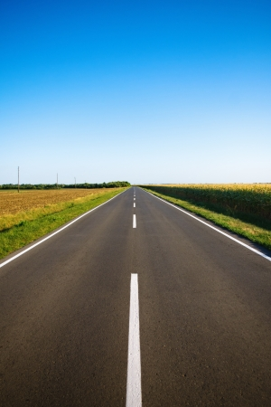 New empty rural asphalt road photo