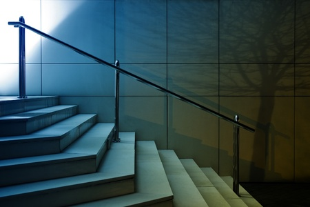 Modern stairs on building entrance with tree shadow on the wall. Night shot Stock Photo - 17746240