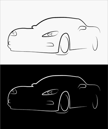 Stylish simplistic sport car silhouette Vector