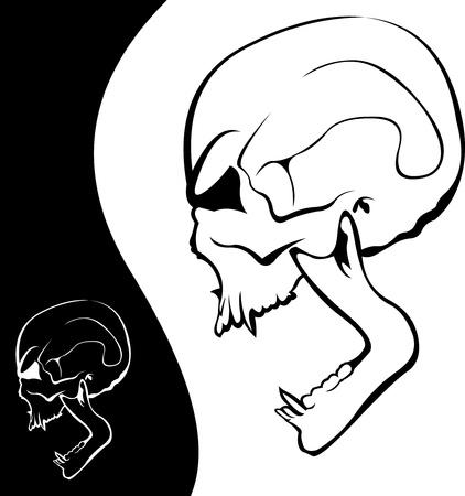 skull tattoo: Screaming vampier schedel tattoo