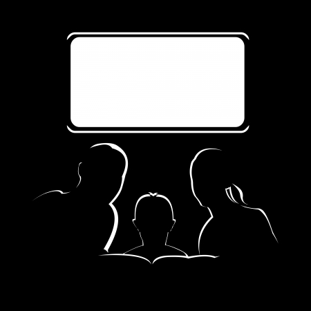 Family watching television. Easy editable layered vector illustration