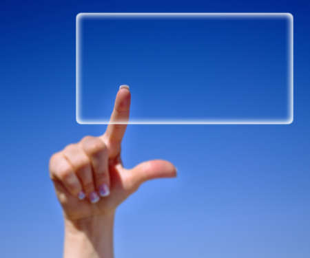Female finger press or re size transparent banner over clear blue sky Stock Photo - 19139486