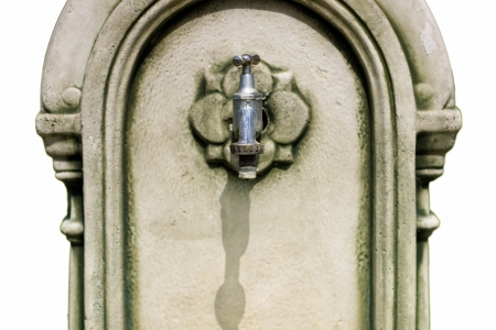 Vintage water tap detail isolated on white photo