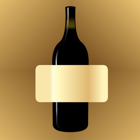 Blank vintage wine label on the bottle Vector