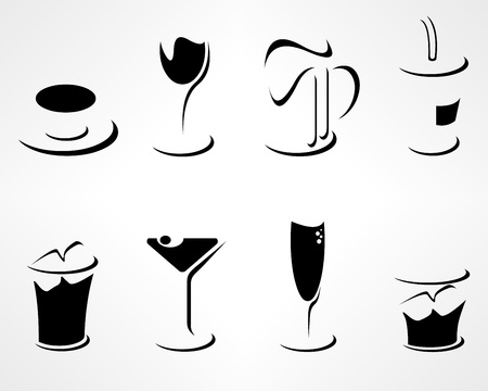 Collection of simple minimalistic drink icons Vector