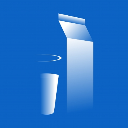 Simplified milk glass and pack.  illustration Vector