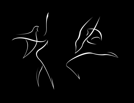 Simple female dancers silhouettes. Stock Vector - 19757329