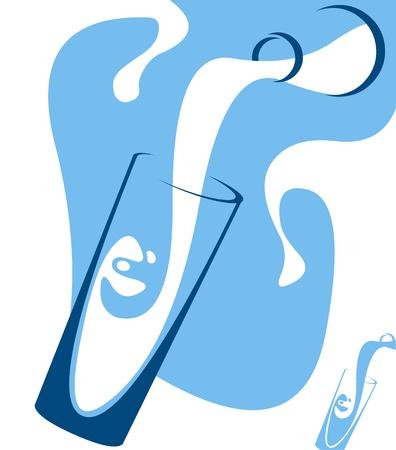 Auslaufende Milch Konzept. Simplistic geschichteten Vektor-Illustration Illustration