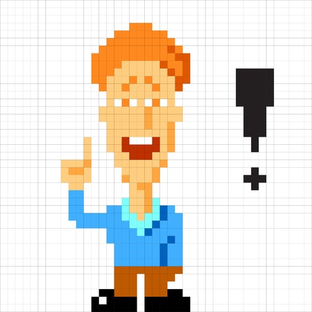 Funny pixel dude gets and idea Vector