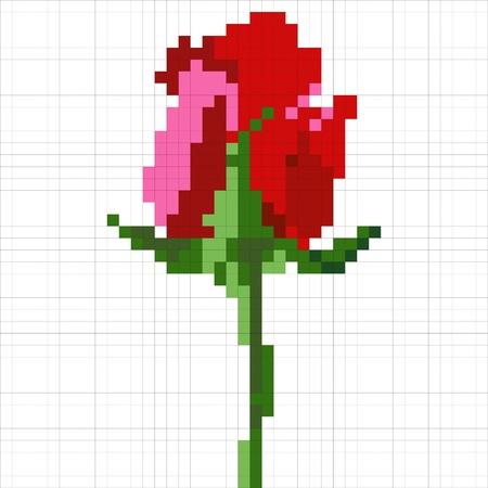 Simple pixel rose flower Stock Vector - 19931557