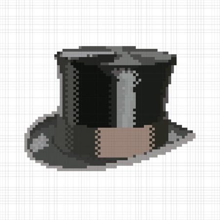 Pixel retro vintage top hat Stock Vector - 20174974