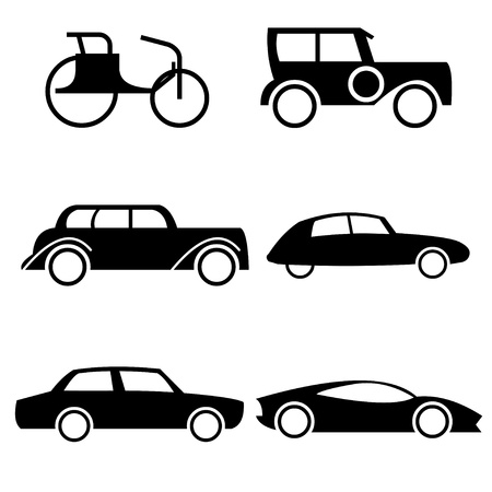 side view: Set of icons representing evolution of cars through history.