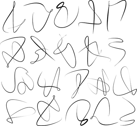unreadable: Set of various abstract calligraphic swirl lines  Useful design element for signatures Illustration