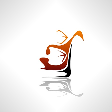 brandy glass: Simplistic whiskey splash with ice cubes concept  Easy editable layered vector illustration