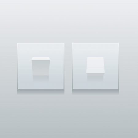 push room: Two modern simple minimalistic light switches on the wall  Easy editable layered vector illustration