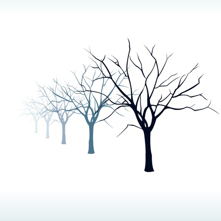 snow field: Bare trees silhouette in the snow at fog  Easy editable layered vector illustration