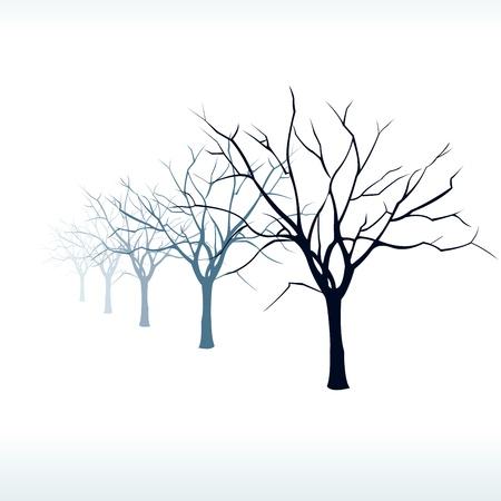 kale: Kale bomen silhouet in de sneeuw bij mist Gemakkelijk bewerkbare gelaagde vector illustratie Stock Illustratie