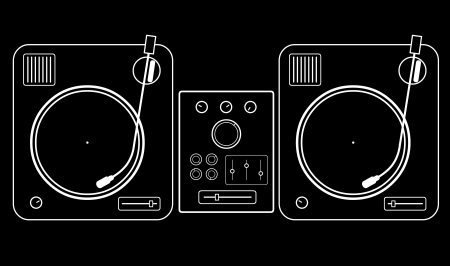 Simple minimalistic two dj turntables with mixer   Vector
