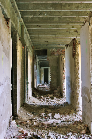 Abandoned destroyed hallway photo