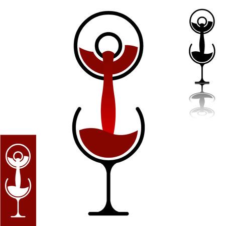 フラットなデザイン ワインのミニマルなコンセプトを注ぐ簡単に編集可能な階層型ベクトル イラスト
