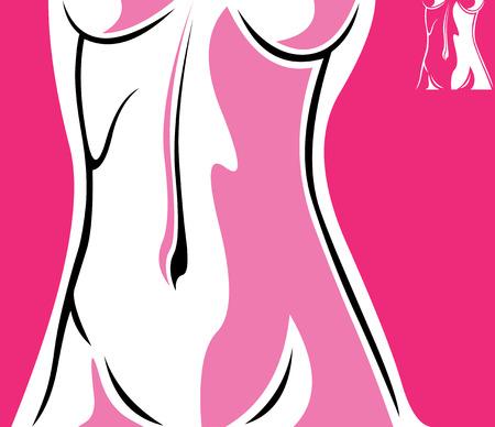 Elegant female torso  Stylish easy editable layered vector illustration Illustration