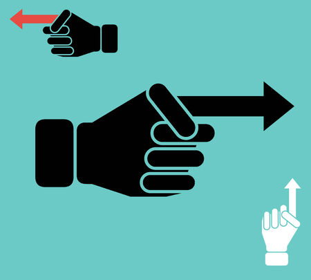 Human hand as pointer with finger in the shape of arrow  Vector illustration Vector