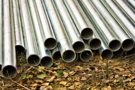profil: Aluminum tubes laying on the ground