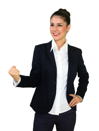 Young happy business woman with clenched fist  Success concept isolated on white photo