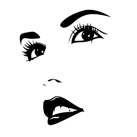 Attractive beautiful confident woman face close up  Easy editable vector illustration Çizim