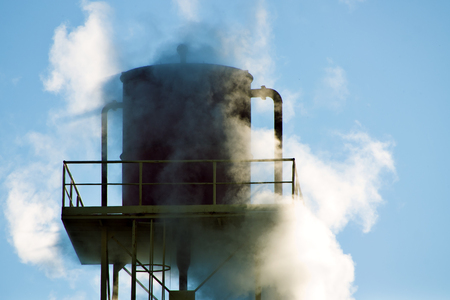 the water tower: Water tower covered by steam