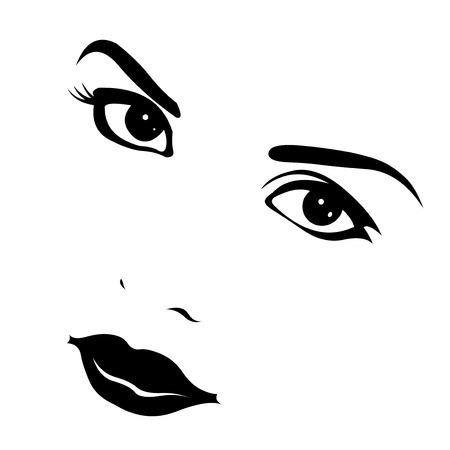 oeil dessin: Belle femme look s�duisant � la cam�ra Vector illustration Illustration
