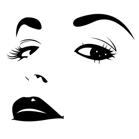 eyebrow makeup: Primo piano della donna testa indietro seducente sguardo illustrazione vettoriale