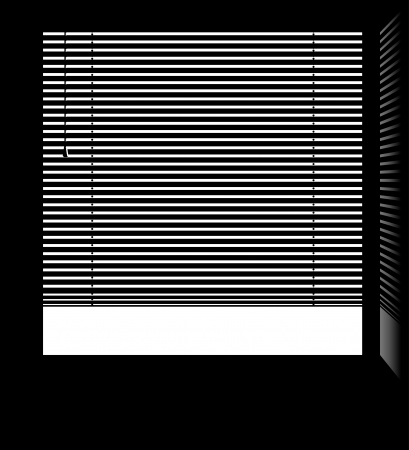 blind: Office window with jalousie blinds with isolated white parts  Illustration