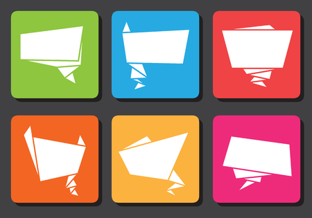 Flat design minimalistic origami speech bubble icons   Vector