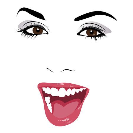 행복 한 아름 다운 젊은 여자 오픈 입 쉽게 편집 할 계층화 된 벡터 일러스트와 함께 미소의 기술 개요 일러스트