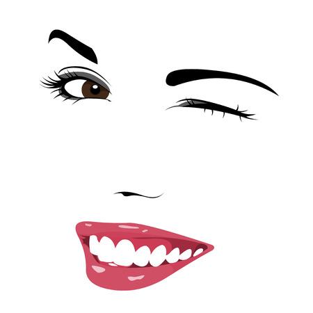 oeil dessin: Jeune belle fille mignonne clin d'oeil facile modifiable illustration vectorielle couches