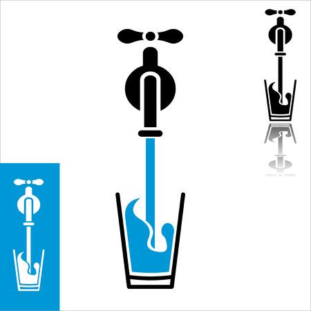 Minimalistisch plat design-icoon van water gieten van kraan tot glas