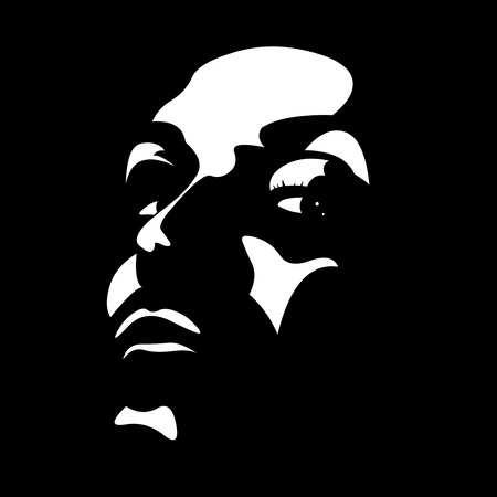 High contrast woman face with seductive looking at camera in the shadow over black  Vector