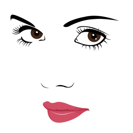 eyelash: Cute young sad, suspicious or seductive girl looking at camera  Easy editable layered  illustration Illustration